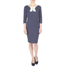 Fever London Michelle Spot Bow Dress in Navy/Cream Size 10 BNWT RRP £49.99