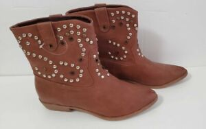 Charlotte Russe Ankle Boots Size 8 Brown Silver Studs Cowboy  Pull On Heel NEW