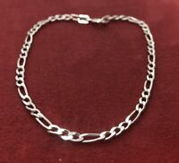 Vintage Sterling Silver Bracelet 925 7.25 Chain Marked Mexico Figaro Link
