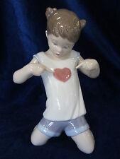 New Lladro Hear My Heart? #9212 Brand New In Box Girl Love Heart Cute Save$ F/Sh