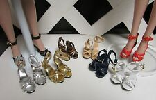 DOLL Shoes, Rumba Sandals in GOLD METALLIC fit Ellowyne and High Heel Marley