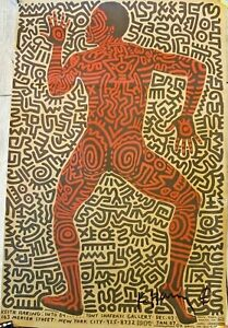 """SIGNED Keith Haring Tony Shafrazi Gallery Art Poster Into '84 FLAW 22.5"""" x 34.5"""""""