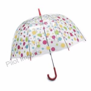 Ladies Automatic Clear Dome Walking Umbrella Various Pink Polka dot Birdcage