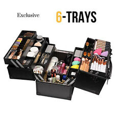 Professional Makeup Train Case Cosmetic Cases Makeup Storage Organizer 6 Trays
