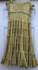 Fusion belly dancing skirt in 100% Cotton with sequins in Yellow Gold, M