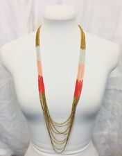 Multi Strand Graduated Length Long Necklace White Pink Gold Painted Metal