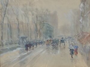 Boston In Winter Louis K. Harlow American Impressionist Watercolor New England