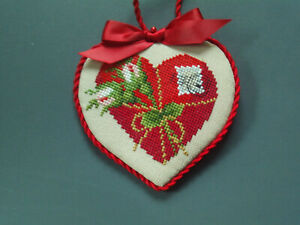 finished completed Ellen Mauer Stroh Heart Valentine cross stitch ornament