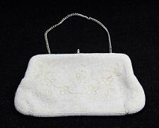 Vintage 50's 60's White Seed Bead Evening Bag Clutch Purse Bag Made in Japan