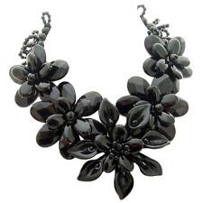 Black onyx Flower Statemnent Necklace girlfriend gift
