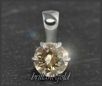 Diamant Brillant 585 Gold Damen Anhänger; 0,60 ct, champagner, VVS; Gleiter NEU