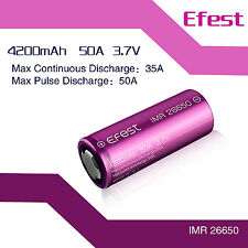 2x Efest IMR 26650 4200mAh 50A lithium Rechargeable Vaping vape E-Cig battery