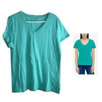 NWT Tommy Hilfiger Women's Slub V-Neck T-Shirt - Atlantis