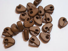 Brown Cord Locks 1 inch long 1/8 inch cord opening x 20 pieces