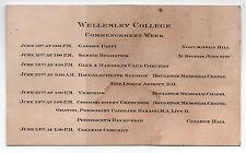 1900s WELLESLEY COLLEGE Commencement Week Card PARTY Vespers GRADUATION Hazard