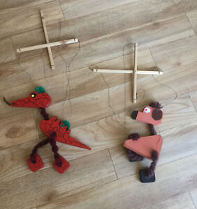 2 Handmade Wooden Puppets - Dragon And Dog - Toy