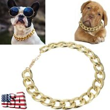 Pet Dog Adjustable Chain Collar Punk Gold Plated Puppy Cat Safety Collar US