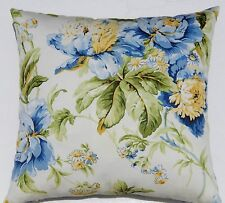 Floral Blue Yellow Green Botanical Navy Decorative Designer Throw Pillow COVER