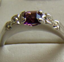 SIZE:7 ~  SQUARE_ AMETHYST~18KGP~WHT ~ GOLD ~RING -- (GREAT_CHRISTMAS_GIFT)