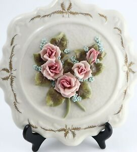 Vintage Reina Califa Bone China Wall Decoration 3D Roses with Gold Trim Plate
