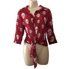 Shasa red skull tie mesh blouse Sz Medium