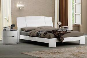 Laura White High Gloss Bed