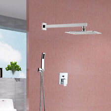 8''Single Handle Shower Faucet Trim Valve Hand Shower Complete Kit Square Chrome