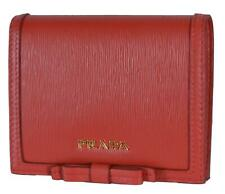 4fcd3f7c2643 New Prada 1MV204 Red Vitello Leather Small Bowtie Bifold Wallet W/Coin  Pocket