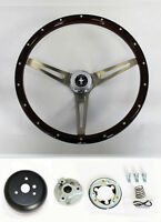 "70-77 Mustang Wood Steering Wheel High Gloss Grip Mustang Cap 15"" with rivets"