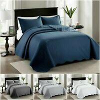 3 Piece Quilted Bedspread With Matching Pillowcase Stylish Comforter Set UK Size
