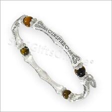 Antique Silver Tone Tiger Eye Inspire Sentiment Message Bracelet / Bangle