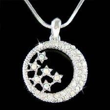w Swarovski Crystal Dream Bride CRESCENT MOON STAR Jewelry Pendant Necklace Cute