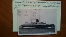 Cie Gale Transatlantique 1934 S/S champlain obli Paquebot /Posted at sea