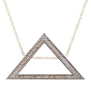 14K Gold White Diamond Triangle Pendant with Chain, 14k Gold, Diamond Necklaces