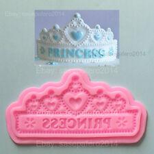 "Princess tiara crown silicone mold 7"" for fondant, chocolate, resin clay. Corona"