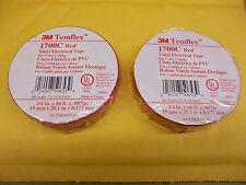 "3M Temflex 1700C Red Vinyl Electrical tape 3/4"" x 66' Lot of 2"