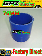 """NEW Silicone Straight Hose Coupler ID 3"""" inch/76mm INTERCOOLER TURBO PIPE BLUE"""