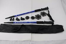 Two Trekking Walking Hiking Sticks Poles Alpenstock anti-shock Snowshoe Blue