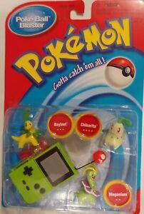 1998 Pokemon PokeBall Blaster Battle Discs Bayleef, Chikorita and Meganium.