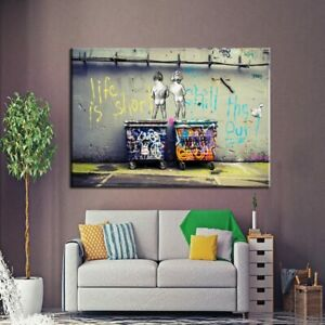 Modern Graffiti Canvas Wall Art Painting Life is Short Chill The Duck Out