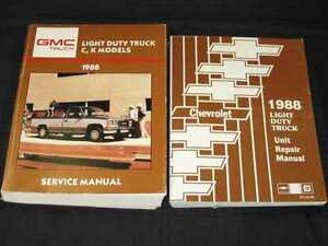 1988 GMC Light Duty Pickup Truck C, K  Shop Service Manual 2pcs