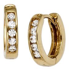 Creolen rund 333 Gold Gelbgold 10 Zirkonia Ohrringe Goldohrringe Goldcreolen