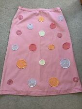 BODEN PINK SKIRT WITH PRETTY DESIGN, SIZE 10.