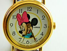 MINNIE MOUSE  WATCH  GOLD TONE CASE / BROWN LEATHER BAND