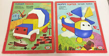 2 VINTAGE IDEAL PICTURE PUZZLES HOPPY COPTER TIMMY TRUCK COMPLETE 1950'S