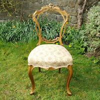Late Victorian Giltwood Balloon Back Upholstered Side Chair C19th (Bedroom Desk)