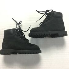 Timberland Baby Boots 5 Toddler Boy Girl Shoes Black Leather Lace Up Classic