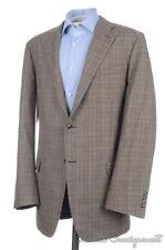 HICKEY FREEMAN Current Brown Plaid Check 100% Wool Blazer Sport Coat Jacket 44 L