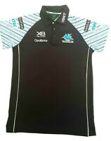Cronulla Sutherland Sharks NRL Official Licensed Black Media Polo Shirt Size 14