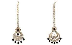 Indian Bridal Kundan Black Pearls Matha Patti Wedding Jewelry Express Shipping